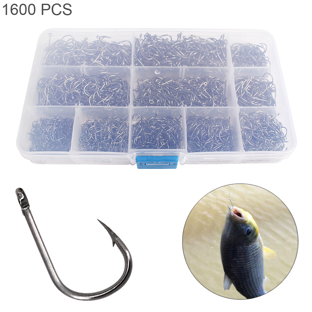 1600pcs/lot Durable Fishing Hooks Kit Barbed Jig Hole Hook 3#-12# 10 Size Carbon Steel Carp Fishhook Set With Fishing Tackle Box