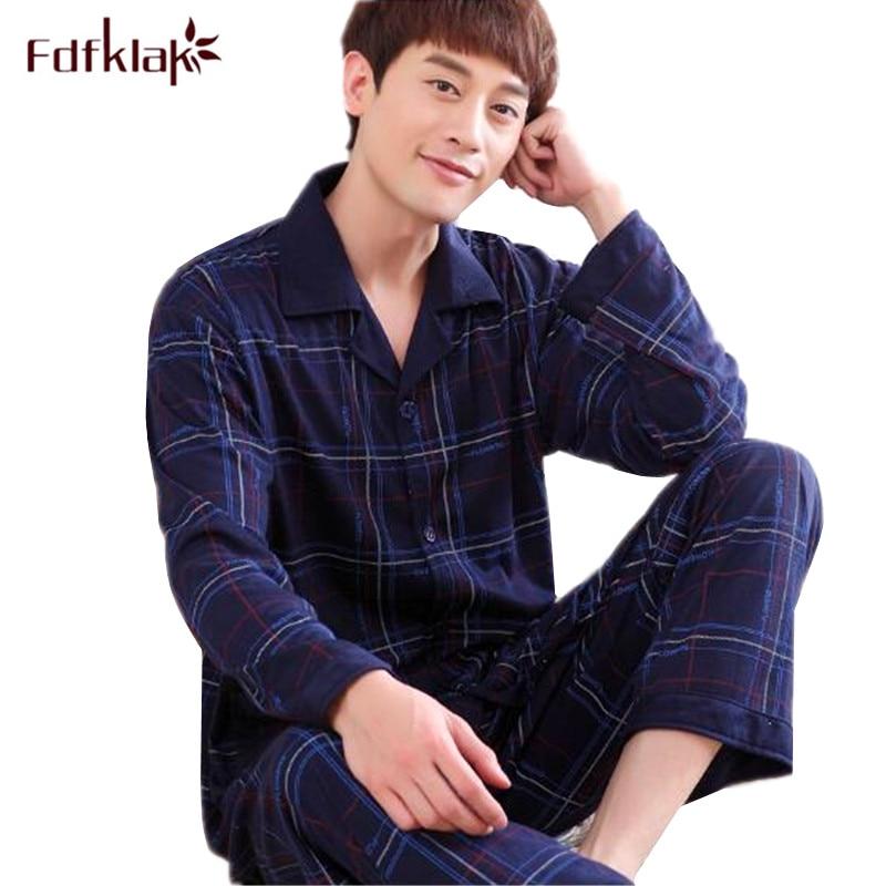 Fdfklak L-3XL Plus Size Pajamas For Men Long Sleeve Cotton Pyjama Homme Sleepwear Man Pajama Set Autumn Winter Pijama Hombre