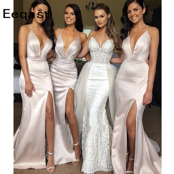 Simple Sheath Bridesmaid Dresses Side Split Plus Size Mermaid Maid Of Honor Gowns For Wedding Party Dress Prom Gowns 2020