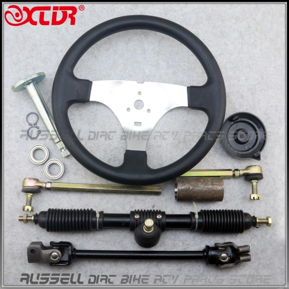 Steering wheel 420mm Gear Rack Pinion U Joint Tie Rod Knuckle Assy Go Kart Buggy