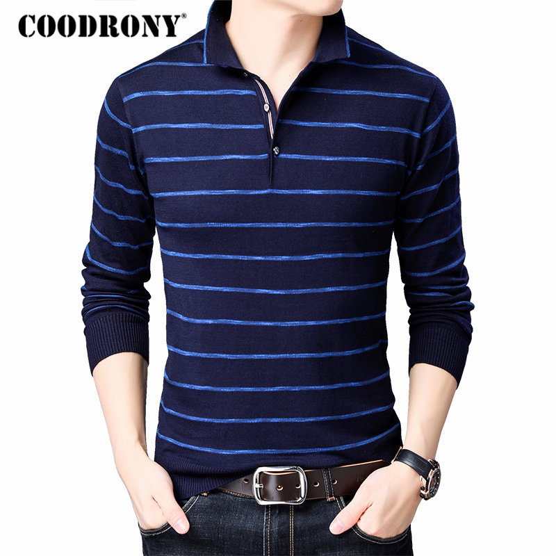 COODRONY Brand Sweater Men Fashion Striped Pullover Men Autumn Winter Knitwear Shirt Pull Homme Soft Cotton Wool Sweaters 91043