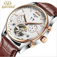 ילד מותג שעונים גברים אוטומטיים מכאניים יוקרה תת חיוג 24 שעות פונקצית תצוגת תאריך relojes צפה שלד עור אמיתיים