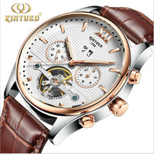 KID brand watches Luxury Automatic Mechanical Men Sub dial function 24 hours Date Display Genuine Leather Skeleton relojes Watch
