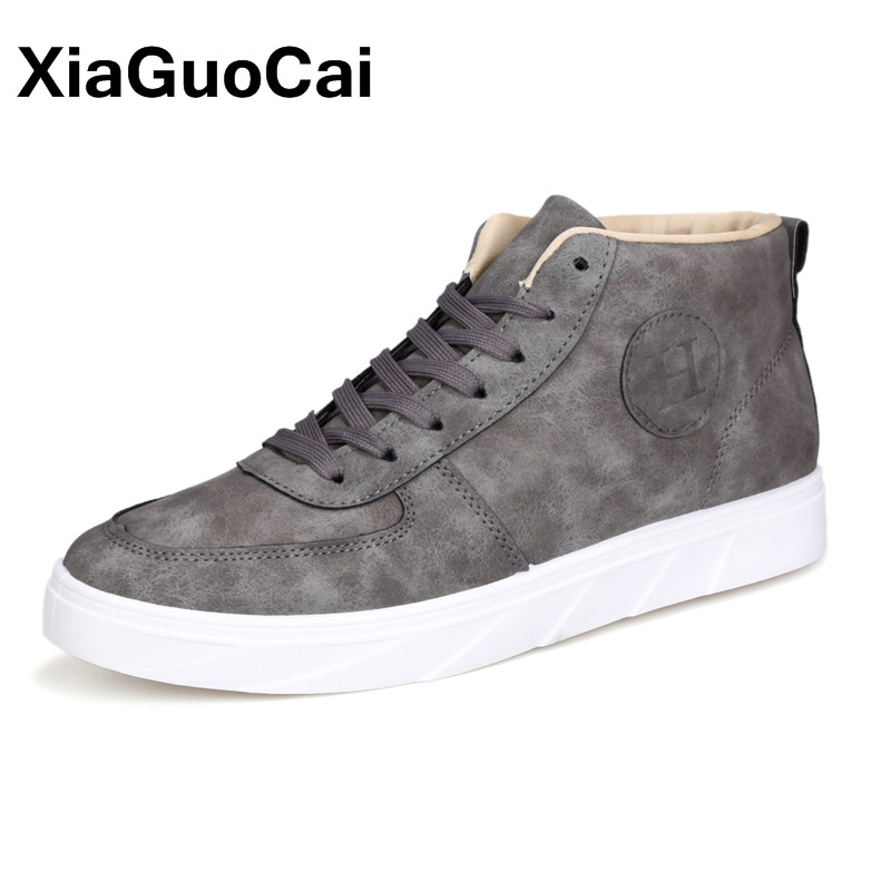 XiaGuoCai Spring Autumn High Top Men Shoes Fashion Canvas Men's Casual Shoes Lace Up Flat Ankle Boots For Male 2016 spring autumn europe china style new tide men canvas casual shoes blue black letters print sewing elastic band flat shoes