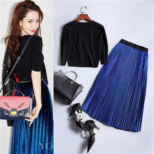 Newest 2017 Designer Runway Suit Set High Quality Women's Black Short Knitted Tops And Blue Glint Pleated Long Skirt Set 2 Piece