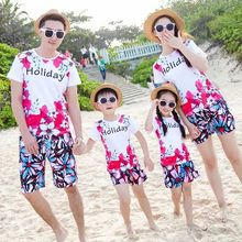 New summy style family matching outfits colorful printing father&mother&daughter&son sets beach walking/seaside travel suitable
