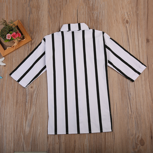 Black & White, Striped Casual Long Sleeved Button-Up Shirt Dress 5
