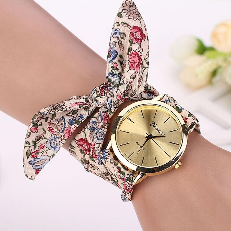 Quartz Wristwatches Women Girl Floral Jacquard Cloth Quartz Dial Bracelet Wristwatch Watch Relogio Feminino LEVERT DROPSHIP 630