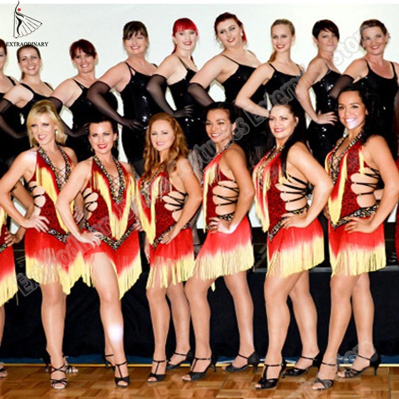 Latinské taneční šaty Ženy Profesionální latinské šaty Samba Latinské Salsa Šaty Taneční kostýmy Taneční šaty
