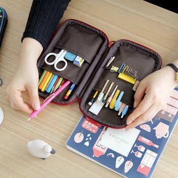 Kawaii Cute Cartoon Pencil Case PU Leather Large Big Girls Boys Penal School Pencilcase Multi Fold Pen Bags Box Stationery Pouch - DISCOUNT ITEM  31 OFF Education & Office Supplies