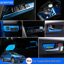 Car Styling Blue Color For Toyota RAV4 2016-2017 Car Interior decoration Sequins Interior door window lift switch panel cover