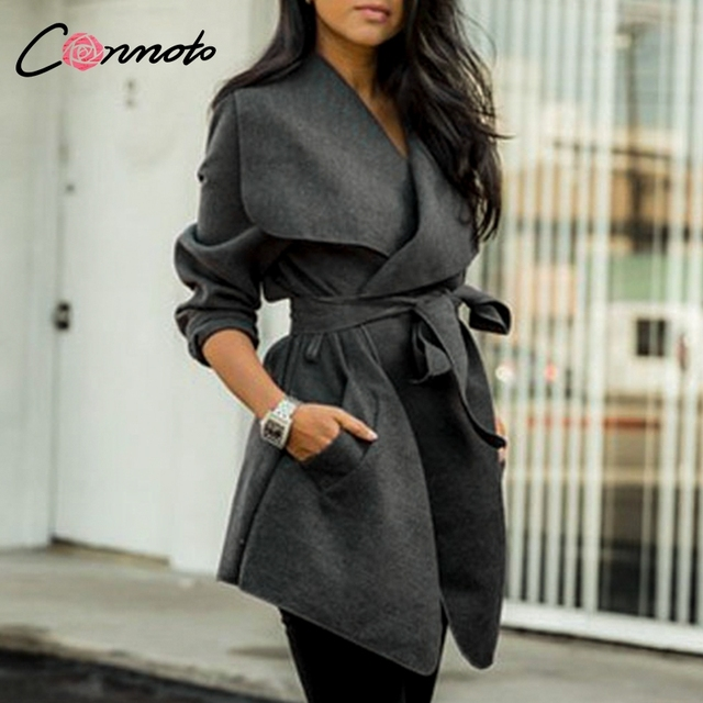 Conmoto Elegant Solid Wool and Blends Coats Women High Fashion Bow Wrap Coat Feminino Mid Length Autumn Winter Coats