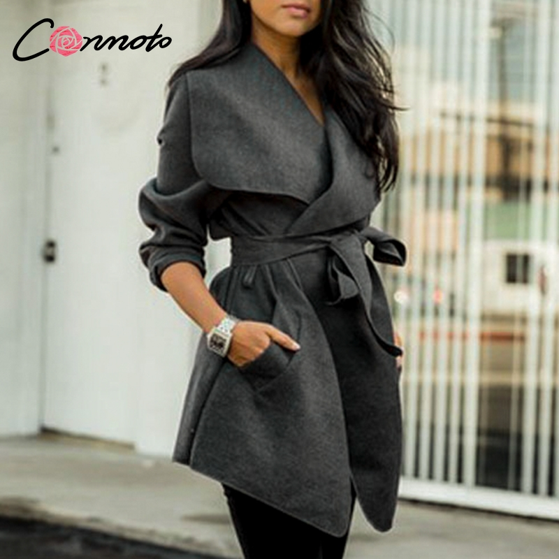 Conmoto Elegant Solid Wool and Blends   Coats   Women High Fashion Bow Wrap   Coat   Feminino Mid Length Autumn Winter   Coats