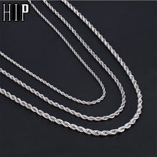 HIP Hop Width 3mm/4mm/5mm Gold Rope Chain Twisted 316L Stainless Steel Necklace Men Necklaces For Women Men Jewelry(China)