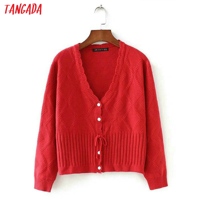 Tangada Women Red Sweater Coat Sweet French Style Long Sleeve V Neck Female Cardigan Sweater Elegant Outwear 2X03