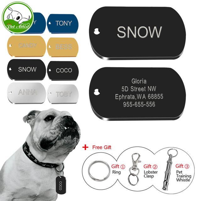 Custom Dog Tags Personalized Military Tags Engraved Pet Name Phone Number Id Tags Free Engraving