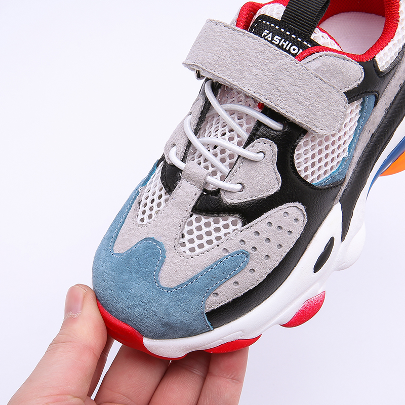 2019 Autumn Kids Mesh Shoes Baby Girls Genuine Leather Sport Sneakers Children Casual Shoes Boys Clunky Sneakers Brand Trainer in Sneakers from Mother Kids