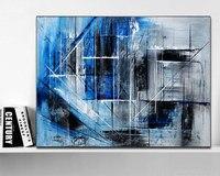 손으로 그린 원래 추상 현대 미술 현대 그림 블루 블랙 그레이 컬러 벽 아트 장식 질감 큰 작품