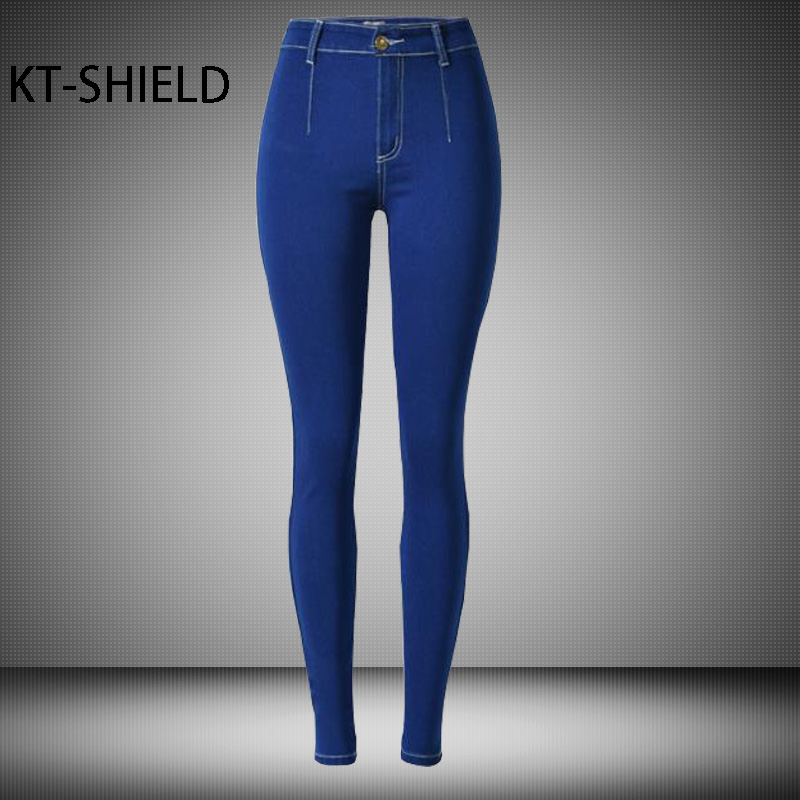 цена на Jeans Womens High waist skinny blue Pencil pants Solid color high elastic Fashion Denim Full length trousers Cotton Female jeans