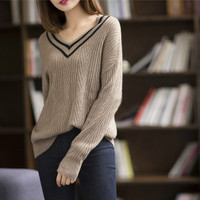 2018 autumn winter cashmere sweater women fashion sexy v neck sweaters loose 100% wool sweater Long sleeve plus size pullover