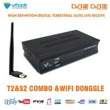 Vmade DVB T2 و DVB S2 كومبو استقبال الأقمار الصناعية dvb T2 S2 x1 كامل HD 1080P فك دعم دولبي AC3 H.264/MPEG 4 مع USB wifi