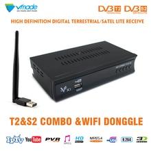 Vmade T2 & S2 Combo Receptor de satélite DVB dvb DVB T2 S2 x1 suporte full HD 1080P Decodificador Dolby AC3 H.264/MPEG 4 com USB wi fi