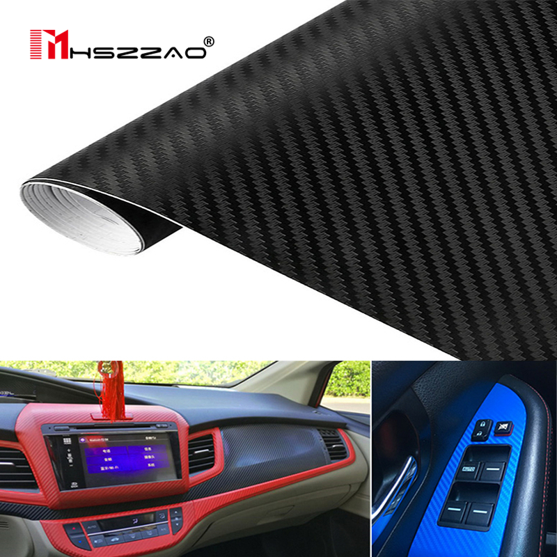 30cm127cm 3D Carbon Fiber Vinyl Film 3M Car Stickers Waterproof DIY Motorcycle Automobiles Car Styling Wrap Roll Accessories