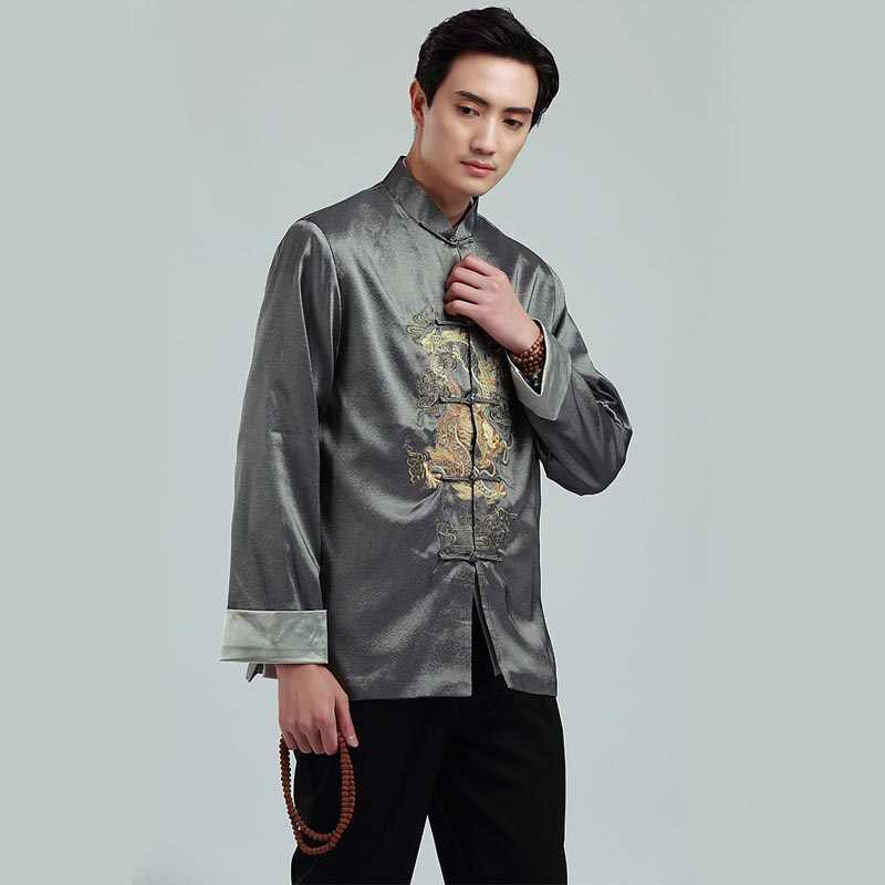 2019 новый костюм Тан с длинными рукавами Китайская традиционная куртка с принтом дракона Китайская одежда кунг-фу куртка с воротником мандарина для мужчин