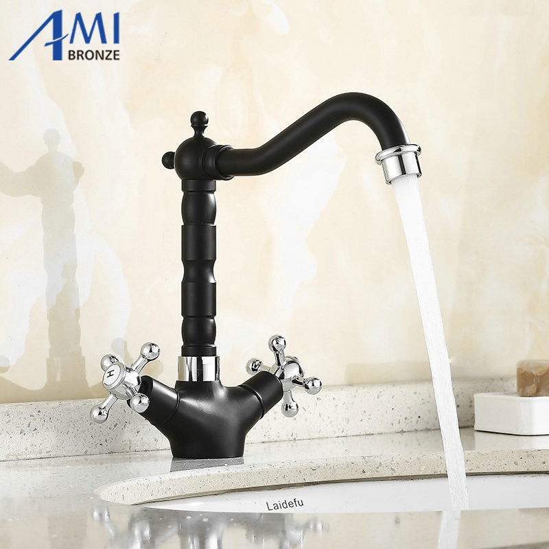 Basin Faucets 360 Swivel Faucet Brass Mixer Hot Cold Tap Basin Sink Chromed Polished /Black /Antique Faucet 9121SBasin Faucets 360 Swivel Faucet Brass Mixer Hot Cold Tap Basin Sink Chromed Polished /Black /Antique Faucet 9121S
