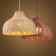 Contemporary Rattan Hanging Pendant Light Country Hand Woven Wicker Drop Home Lighting Pendant Lamp Restaurant Shop Bar Pendant vintage wicker pendant lamp hand made knitted hemp rope iron coffee shop pendant lamps loft lamp american lamp free shipping
