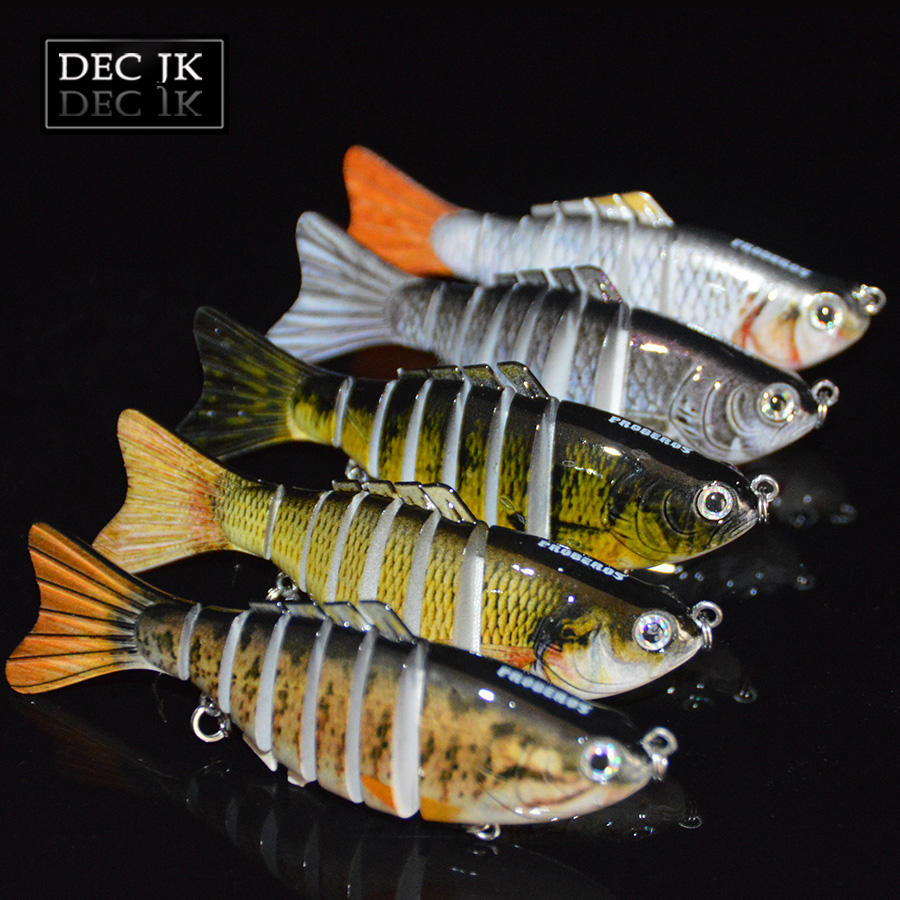 цены 5PCS Fishing Tackle Wobblers For Pike Trolling Lure Peche 7 Segment Swimbait Crankbait Hard Artificial Bait 10cm Sea Lures Lot