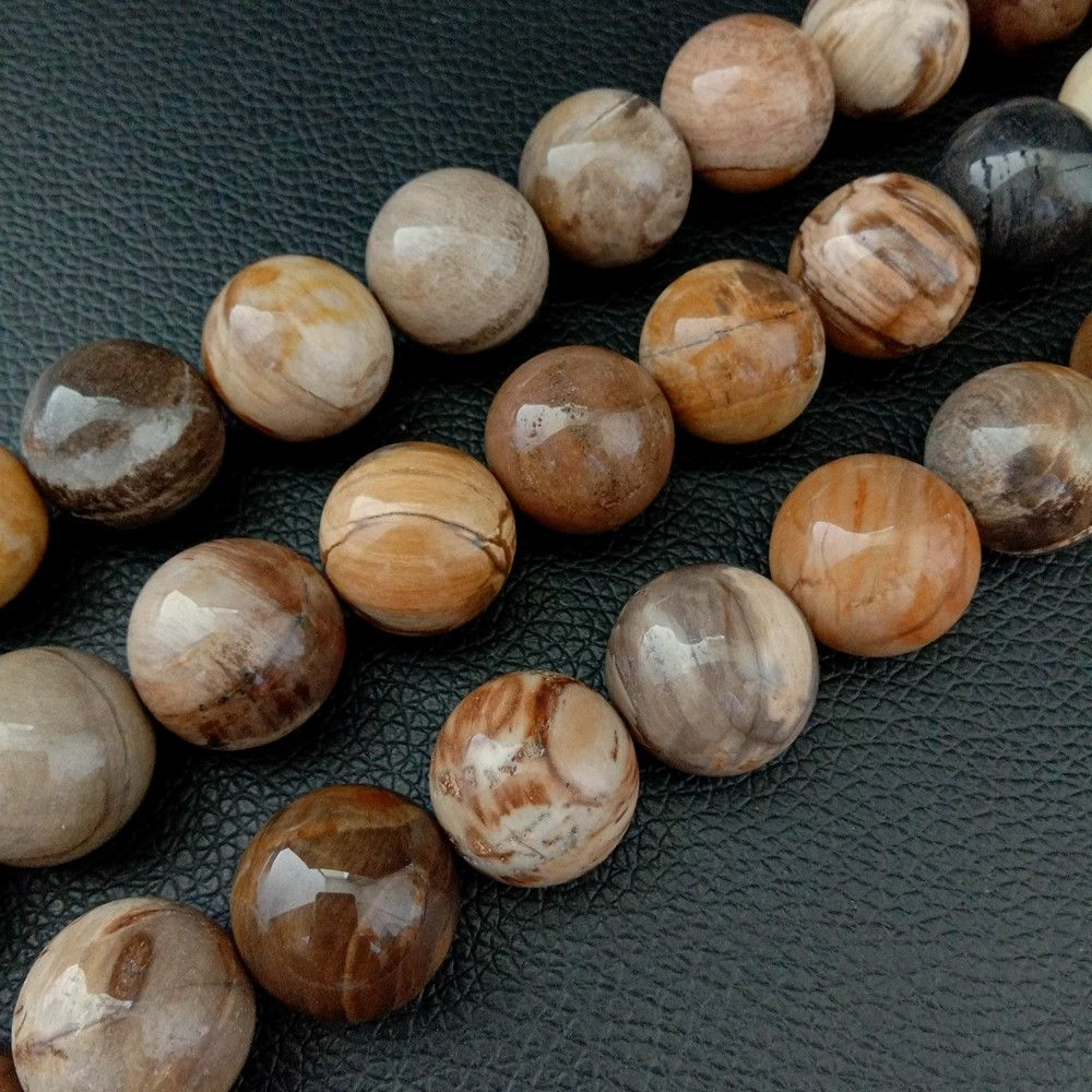 Petrified Wood Stone Round Beads Large 18mm Brown Yellow Smooth Polished 15Petrified Wood Stone Round Beads Large 18mm Brown Yellow Smooth Polished 15