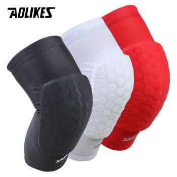 Aolikes 1ピース六角スポンジ保護膝パッドバスケットボールレッグスリーブ圧縮膝ブレースはニーパッドスポーツ安全