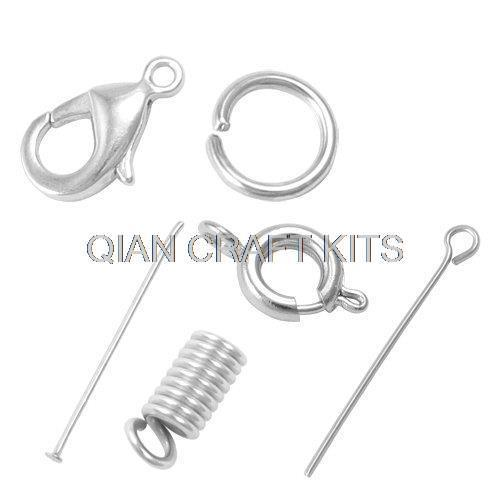 1000pcs jewelry diy findings kit   jumprings eye pins  lobster claw clasps headpins spring cord