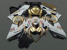Мото Пресс-форма Мотоцикл Обтекатель Комплект Для Suzuki GSXR1000 GSX-R 1000 K5 2005 2006 Кузова Обтекатели Сшитое Белый L379
