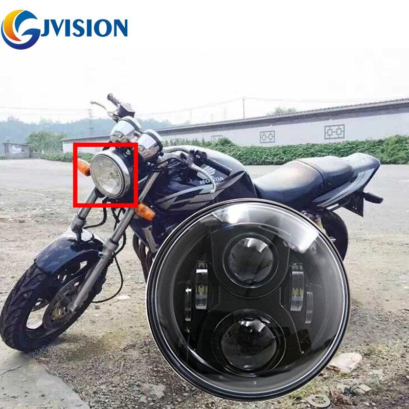 Livraison gratuite noir moto led phare 7 pouces 75 W faisceau haute / basse pour Honda CB400 CB500 CB1300 phare