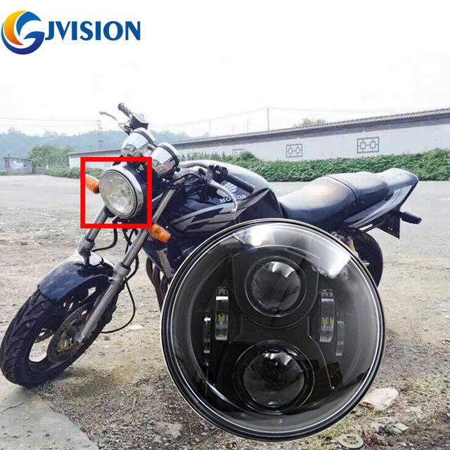Free shipping Black motorcycle led headlight 7 inch 75W High/Low Beam for Honda CB400 CB500 CB1300 Headlamp