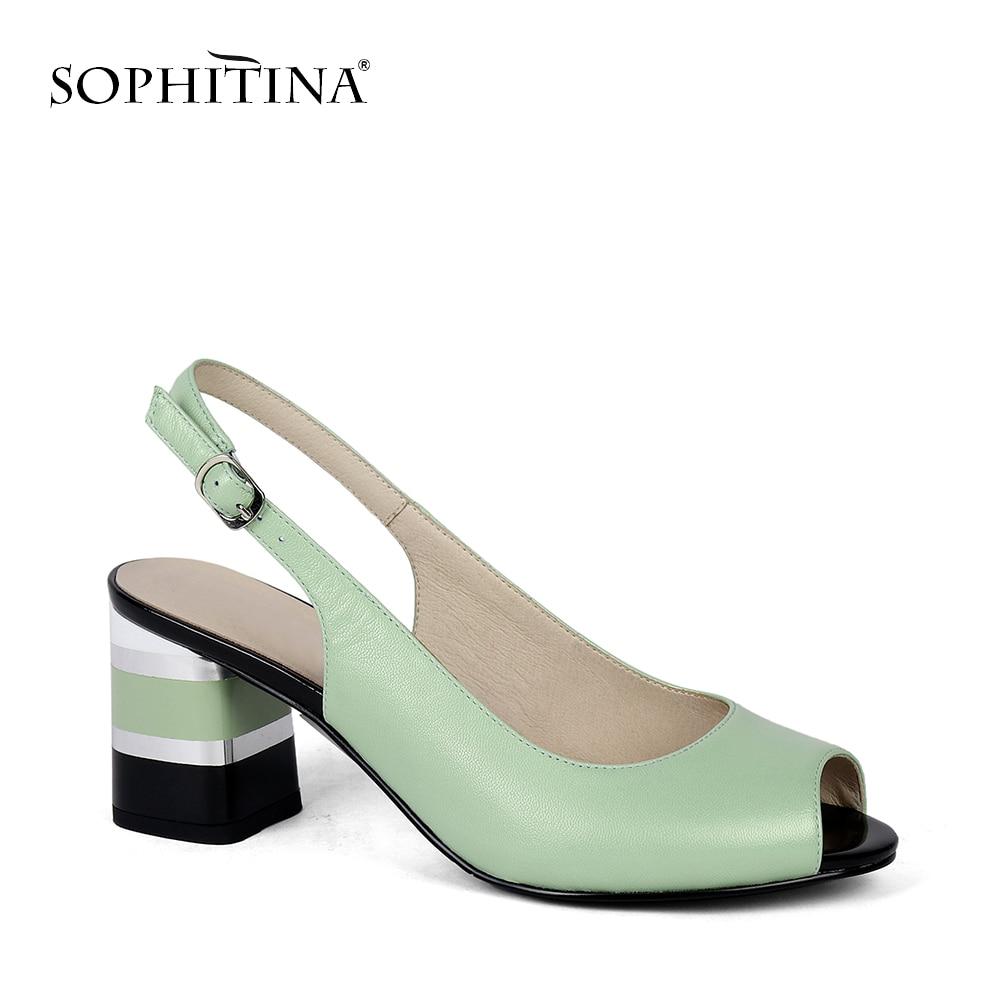 SOPHITINA Comfortabele Vierkante Hak Sandalen Fashion Enkel Wrap Hoge Kwaliteit Schapenvacht Schoenen Nieuwe Casual Ontwerp Vrouw Sandalen MC170-in Hoge Hakken van Schoenen op  Groep 1