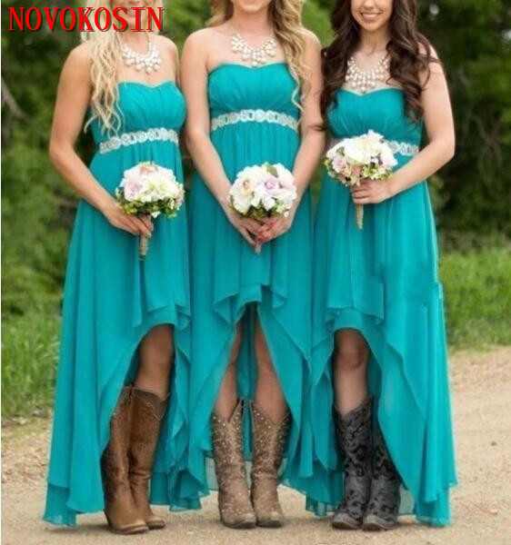 2dc1acd7f2 Cheap Country Bridesmaid Dresses 2019 Teal Turquoise Chiffon Sweetheart  High Low Long Wedding Bridesmaids Maid Honor