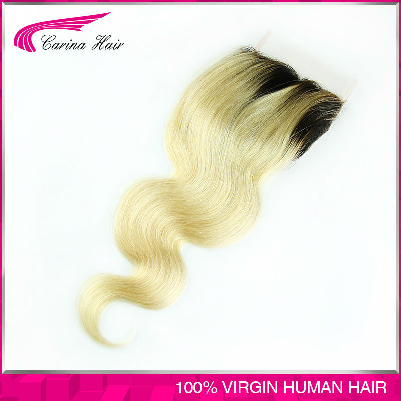 Ombre 1b/#613 Dark root blonde hair Peruvian Body Wave Virgin Hair Lace Closure Free Part 4x4 Swiss lace closure