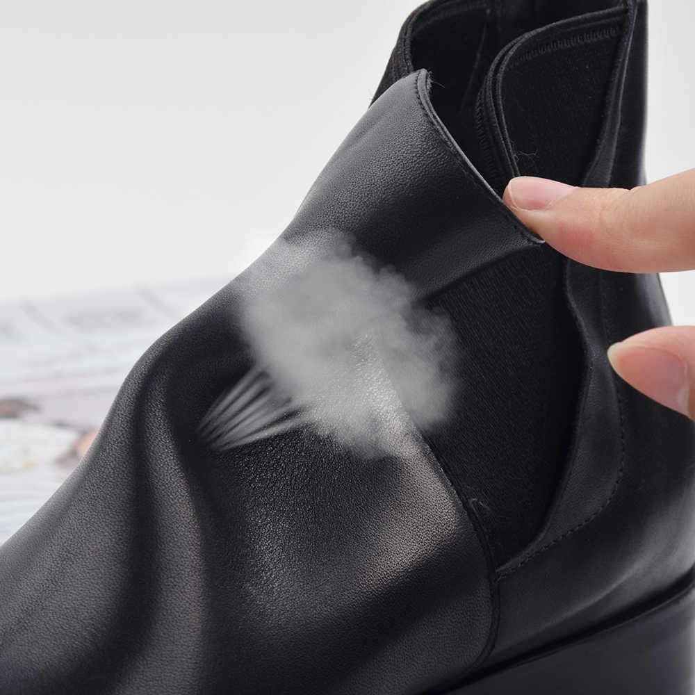 Donna-sonbahar kış Chelsea çizmeler kadın hakiki deri kısa peluş düşük Med kare yarım çizmeler üzerinde kayma yuvarlak ayak ayakkabı