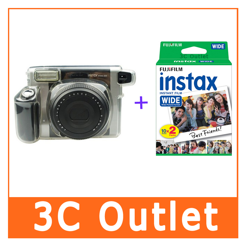 Free Shipping Fujifilm Instant Wide Film 20 Sheets + Wide300 Camera Crystal Case