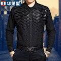 Hot NEW hombres otoño de fácil cuidado de algodón mercerizado ropa paillette negro 100% del remiendo del algodón camisas