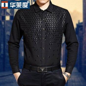 Hot New Men Autumn Long-sleeve Shirt Easy Care Mercerized Cotton Men's Clothing Black Paillette 100% Cotton Patchwork Shirts