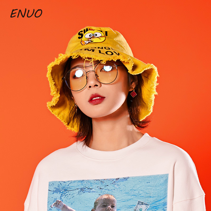 100% Cotton Cartoon Bucket Hat Men Women Bts Pop Bob Outdoor Beach Sun Hat Black Yellow Fashion Panama Fishing Fisherman Hat To Ensure A Like-New Appearance Indefinably