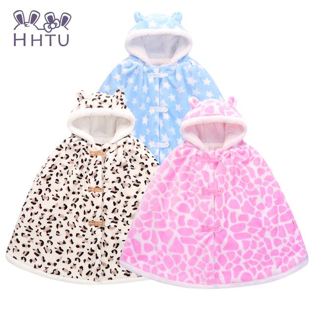 Hhtu 2016 abrigos bebé de la manera muchachos de la muchacha guardapolvos outwear fleece jumpers manto niños clothing del poncho del cabo