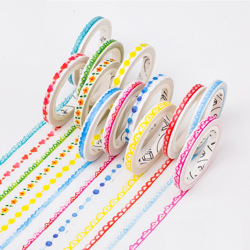 Stock clearance 8 pcs/Lot Slim Lace masking tape 5mm*8m Decorative edge paper washi tapes tools Stationery school supplies 6167 цена и фото