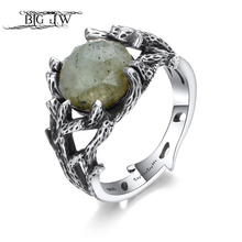 BIG J.W 925 Sterling Silver Plants Rings Vintage Green Natural Stone Finger Ring Wedding Bands Ring Fashion Lover Silver Jewelry venidy female natural resizable opal ring fashion red 925 sterling silver jewelry vintage wedding rings for women birthday stone