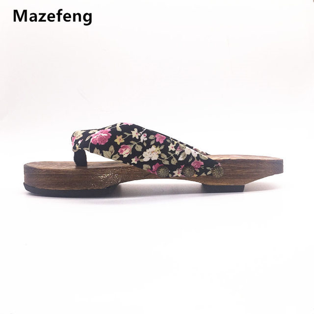 Mazefeng Clogs geta Chinese Summer Slippers Shoes Female Slippers Flip  Flops Women Woods Clogs geta Print Women Clogs 0285d70d14