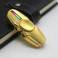 Luminous LED Light Tri Fidget Hand Spinner Lighters EDC Tri Spinner Finger Toys USB Rechargeable Flameless